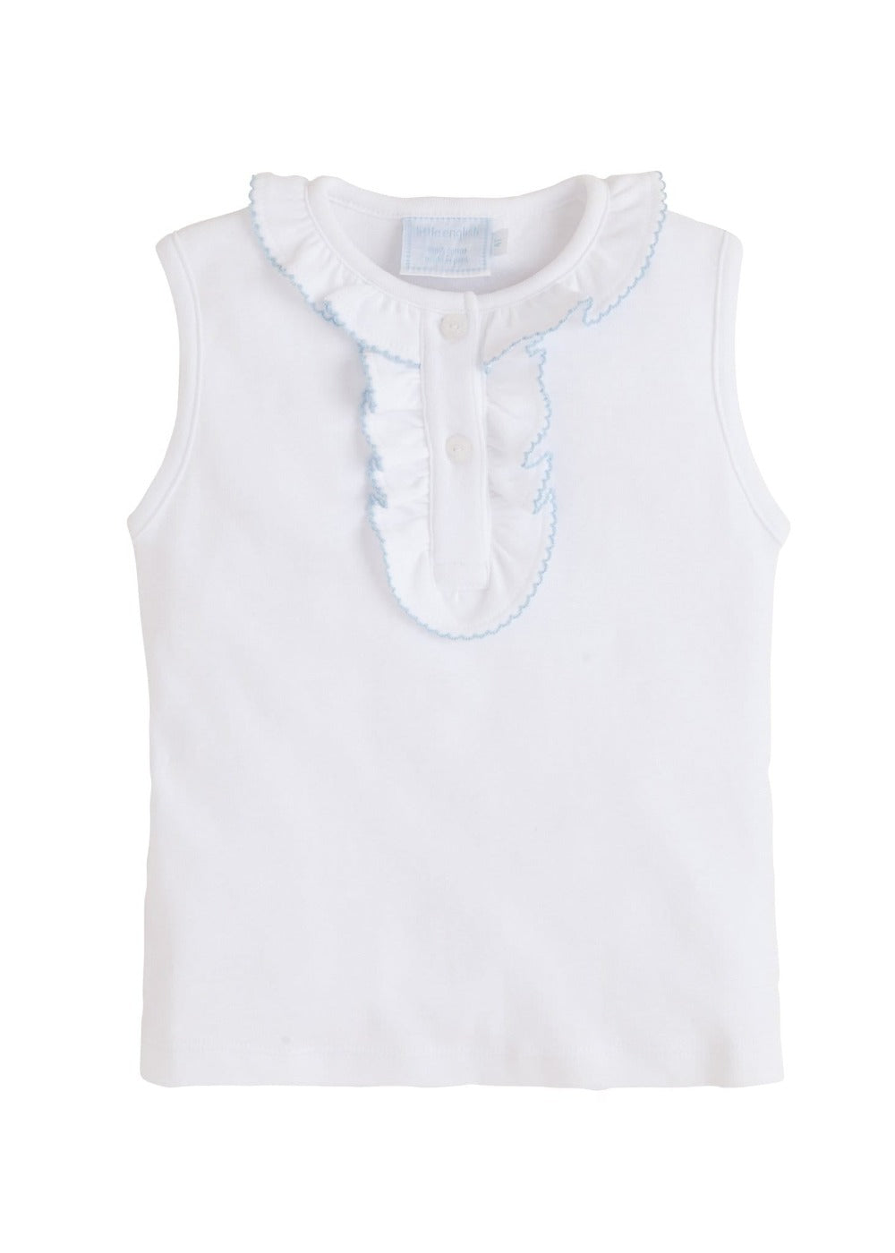 Ruffled Henley - Light Blue, Little English, classic children's clothing, preppy children's clothing, traditional children's clothing, classic baby clothing, traditional baby clothing