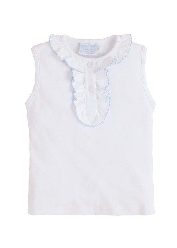 little english girls classic henley tank with ruffled details