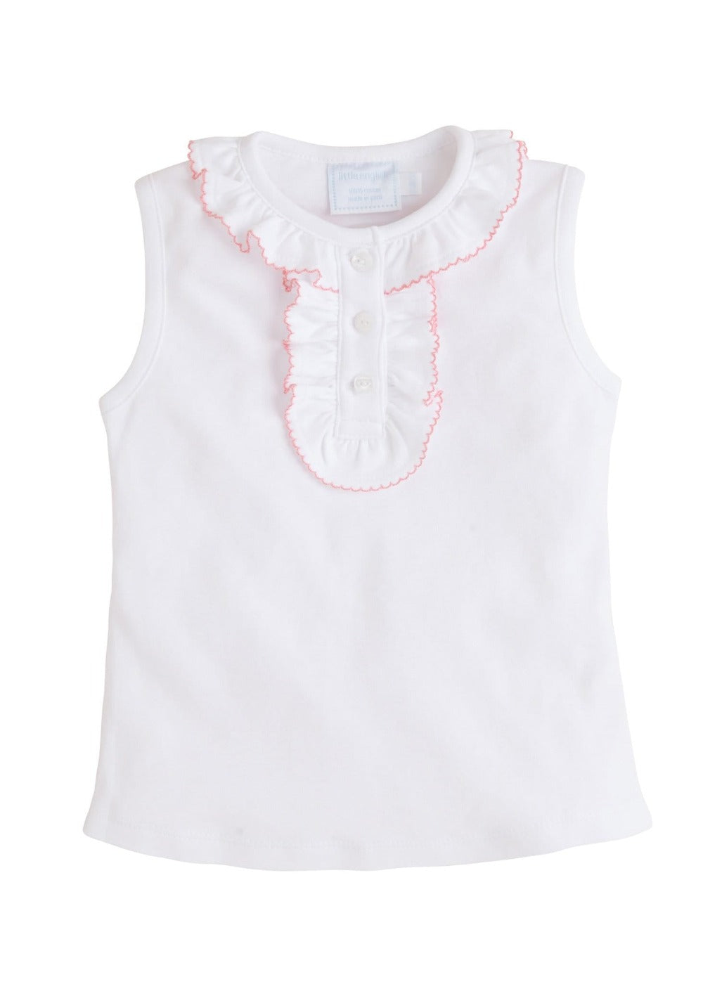 Ruffled Henley - Light Pink, Little English, classic children's clothing, preppy children's clothing, traditional children's clothing, classic baby clothing, traditional baby clothing