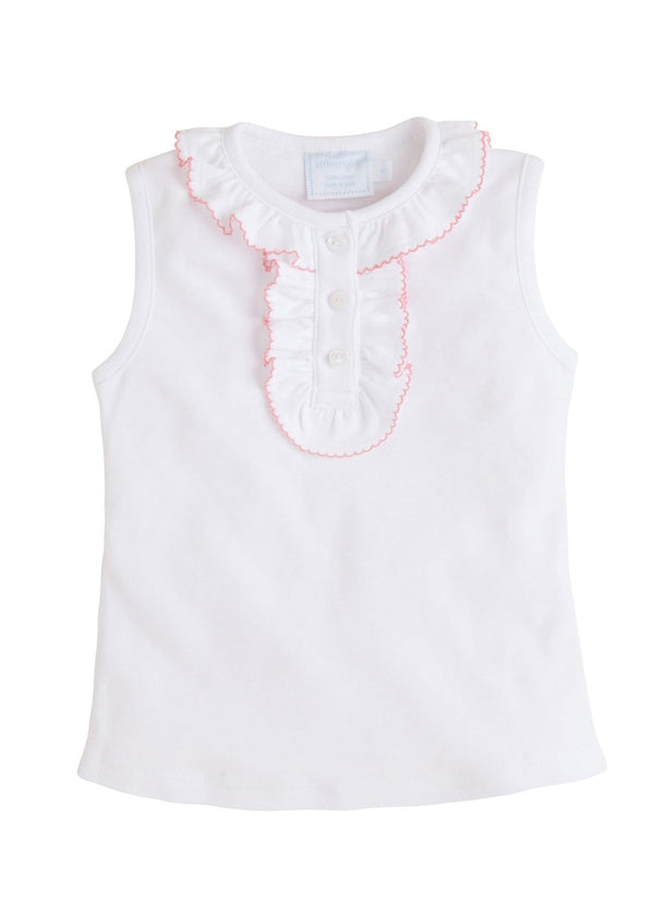 little english classic girls henley tank top with ruffled details