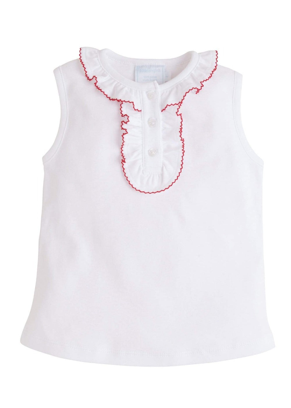Ruffled Henley - Red, Little English, classic children's clothing, preppy children's clothing, traditional children's clothing, classic baby clothing, traditional baby clothing