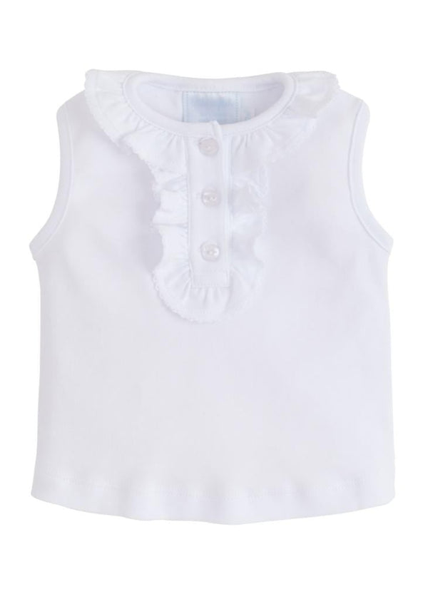 Ruffled Henley - White, Little English, classic children's clothing, preppy children's clothing, traditional children's clothing, classic baby clothing, traditional baby clothing