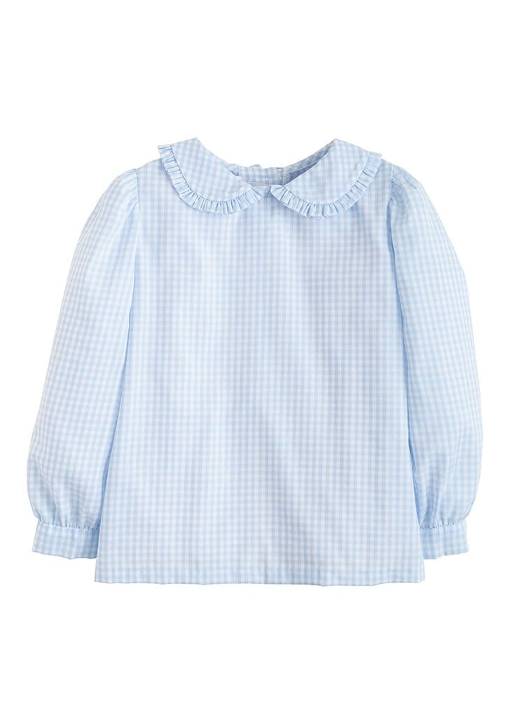 Ruffled Peter Pan Blouse - Light Blue Gingham, Little English, classic children's clothing, preppy children's clothing, traditional children's clothing, classic baby clothing, traditional baby clothing