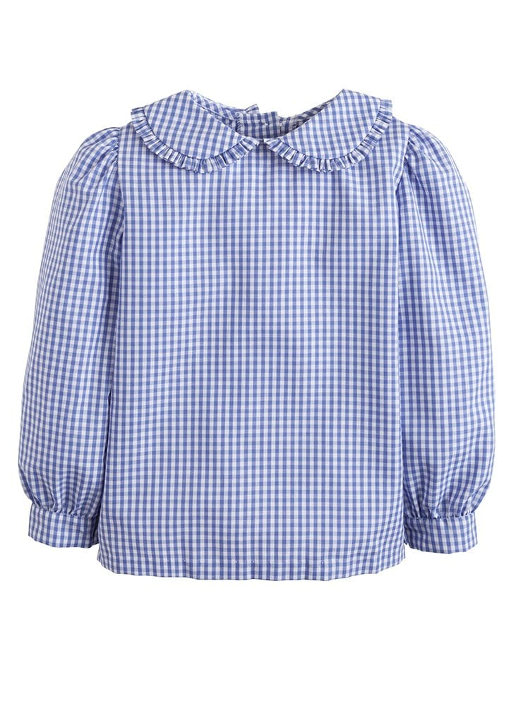 ruffled Peter Pan collar blouse in royal blue gingham