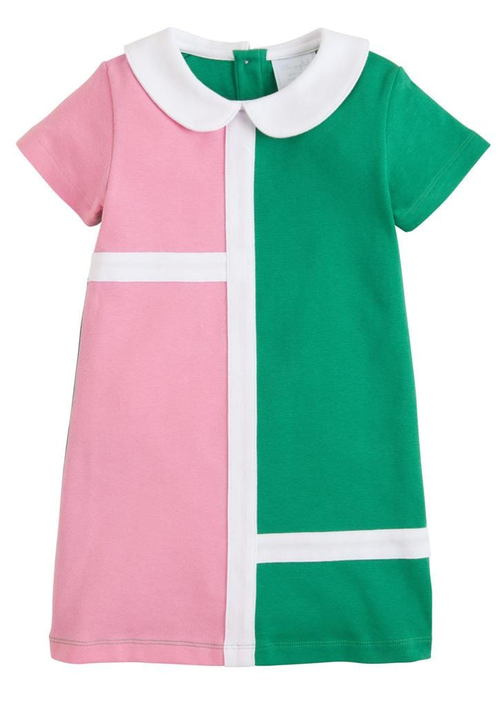 Little English classic girl's pink and green knit dress, traditional children's clothing