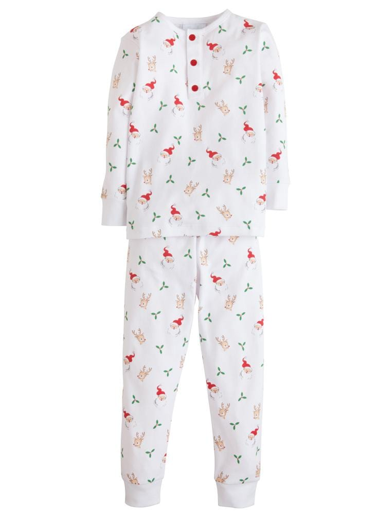 Little English classic boy's printed Santa and reindeer knit pajamas, classic children's clothing
