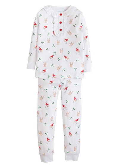 Little English classic girl's Santa and reindeer printed pajamas, traditional children's clothing