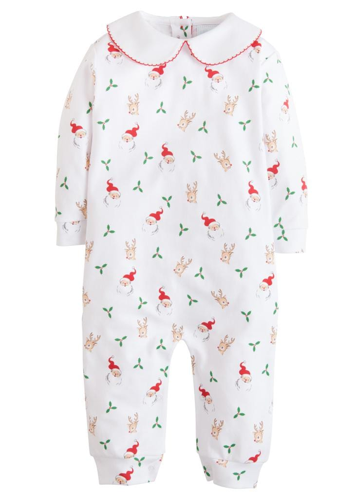 Little English classic printed Santa and reindeer printed playsuit, traditional children's clothing