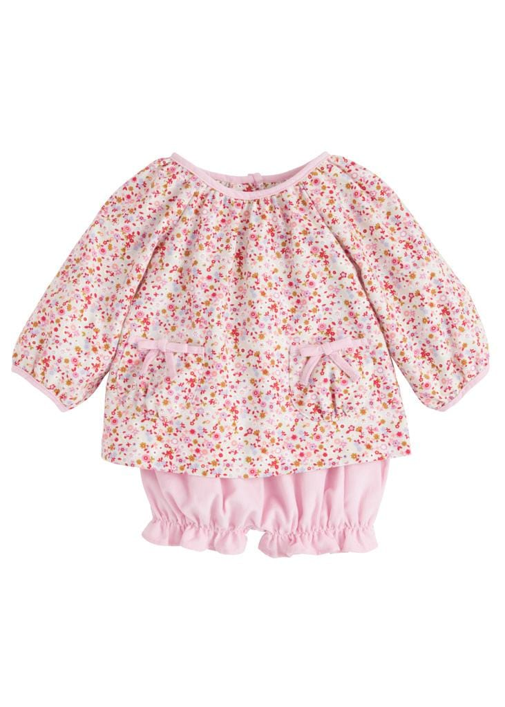 Daphne Floral Saratoga Bloomer Set, Little English Traditional Children's Clothing, girl's classic pink floral bloomer set