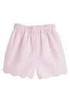 Scallop Shorts - Pink Seersucker, Little English, classic children's clothing, preppy children's clothing, traditional children's clothing, classic baby clothing, traditional baby clothing