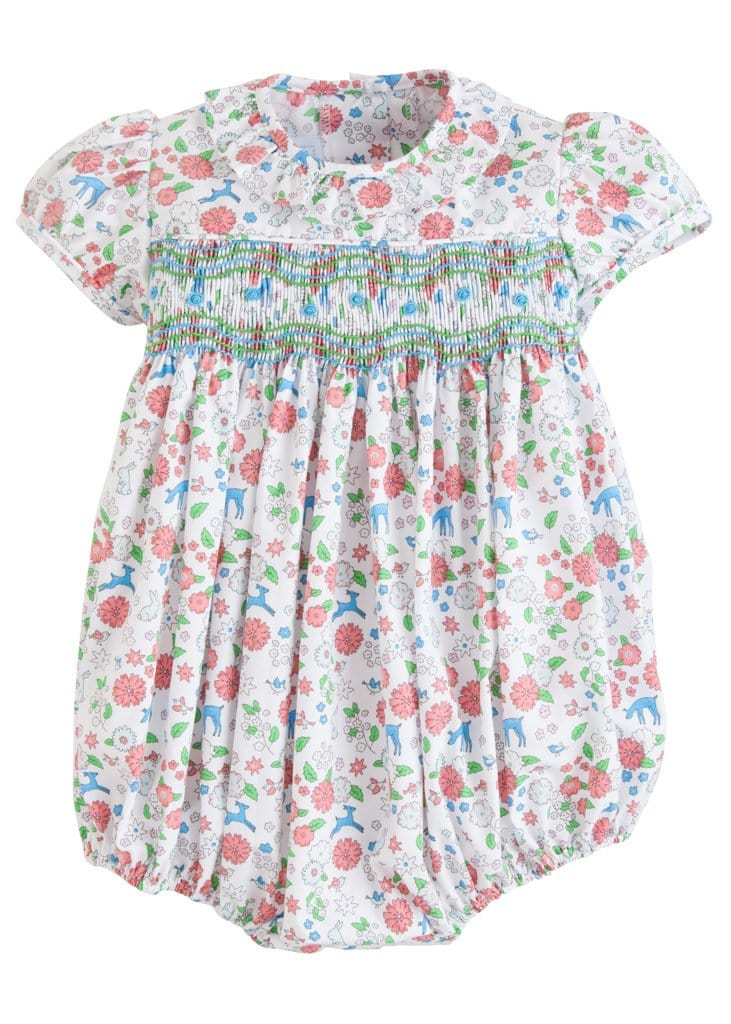 Little English classic baby girl's smocked floral bubble