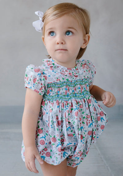 Little English classic children's clothing, baby girl's woodsy floral smocked bubble, traditional baby clothing