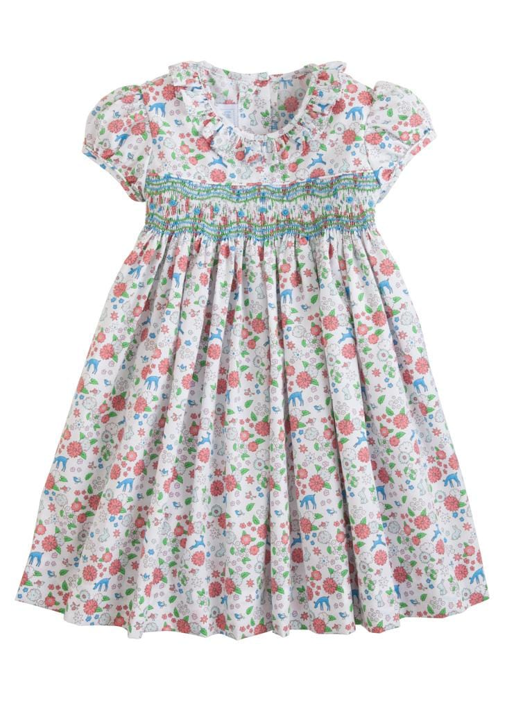 Little English classic girl's smocked floral dress