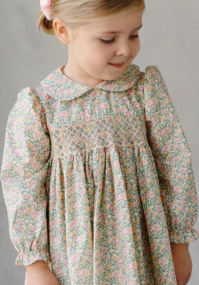 Little English classic children's clothing, girl's smocked Summer Trees Floral dress, traditional girl's clothing