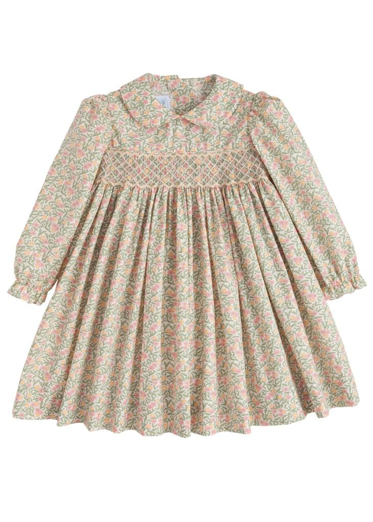 Little English classic girl's floral smocked dress, traditional children's clothing