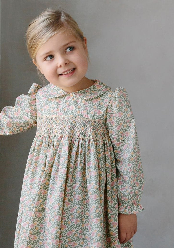 Little English classic girl's smocked Summer Trees Floral dress, traditional children's clothing