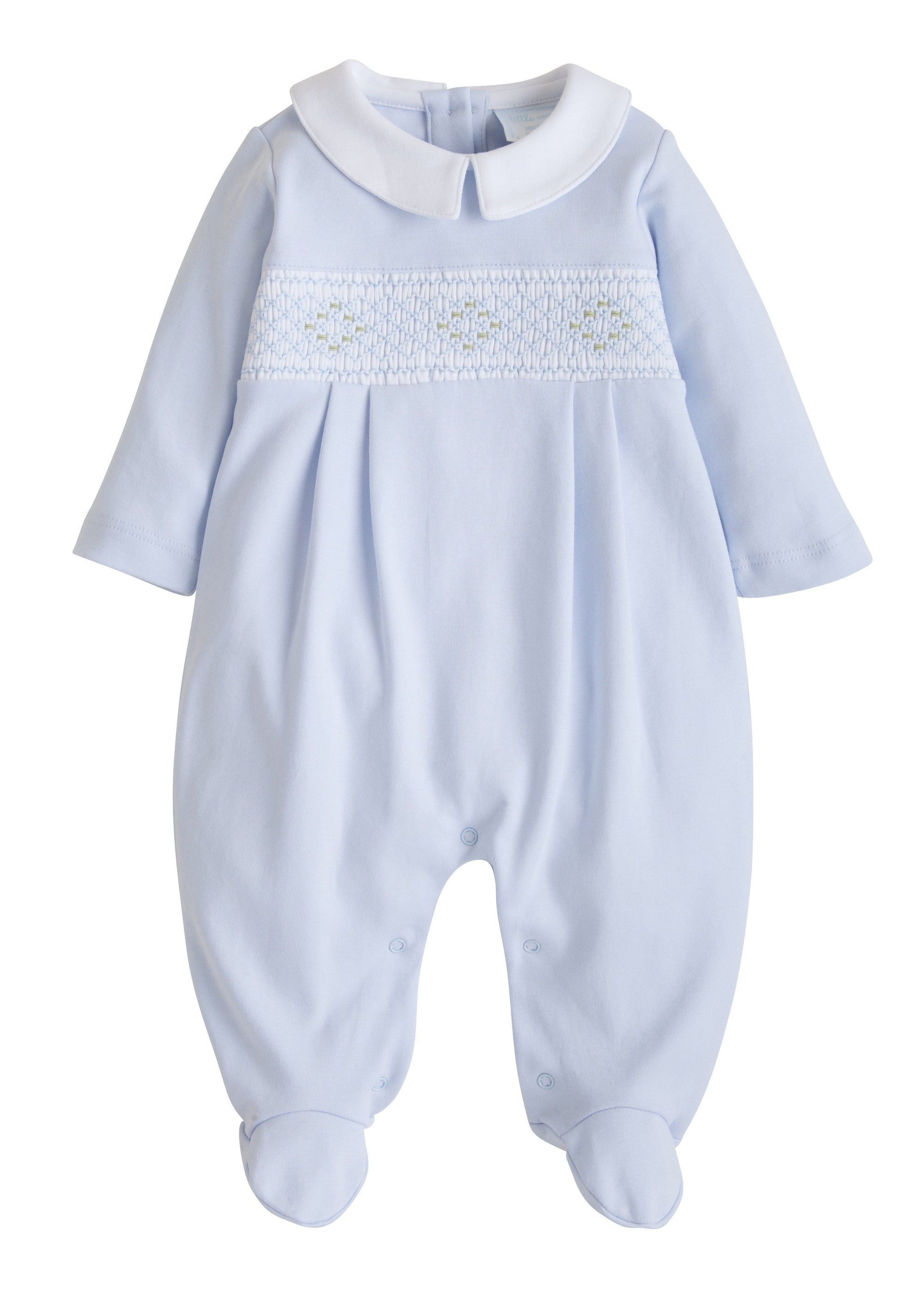 Smocked Blue Footie, Little English, classic children's clothing, preppy children's clothing, traditional children's clothing, classic baby clothing, traditional baby clothing