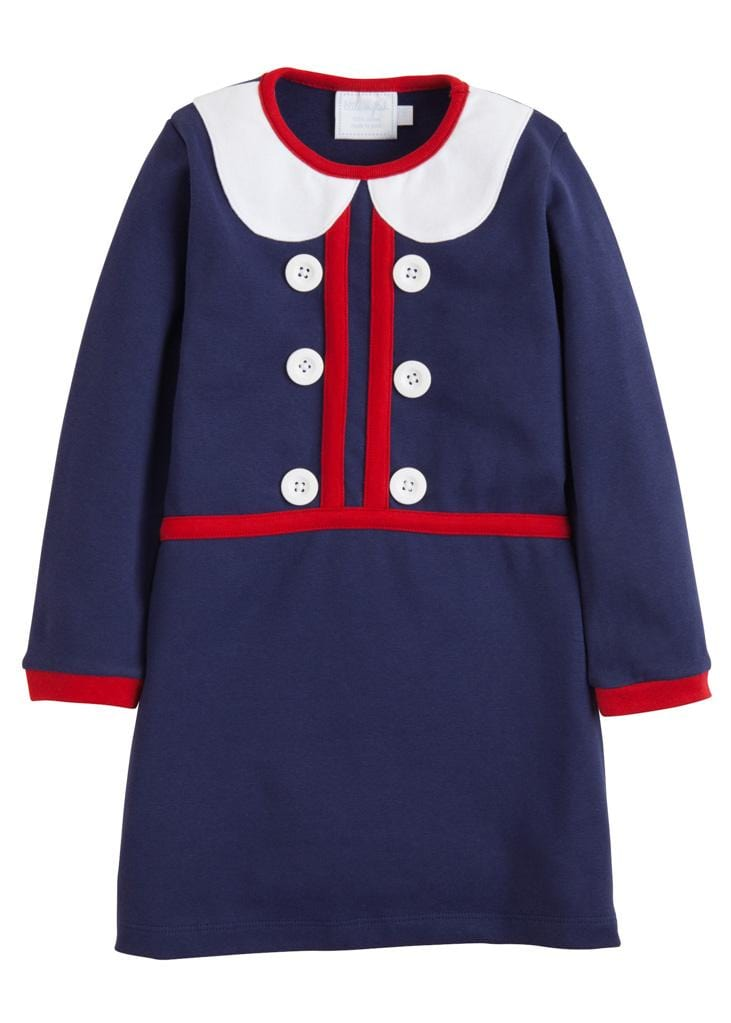 Little English classic girl's navy knit dress, traditional children's clothing