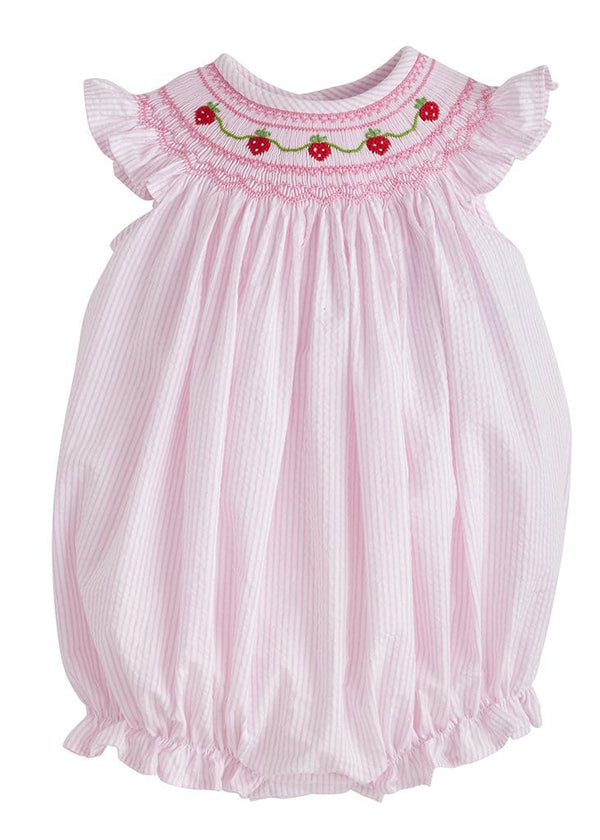 Little English baby girls smocked pink strawberry bubble