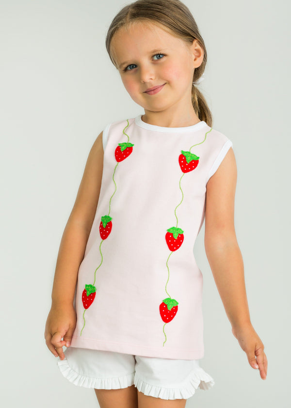 Little English Strawberry Applique Top, Light Pink