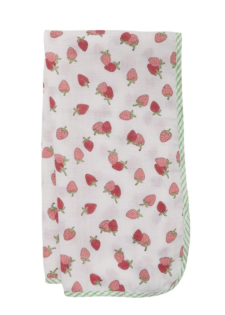 Muslin Swaddle - Strawberry, Little English, classic children's clothing, preppy children's clothing, traditional children's clothing, classic baby clothing, traditional baby clothing