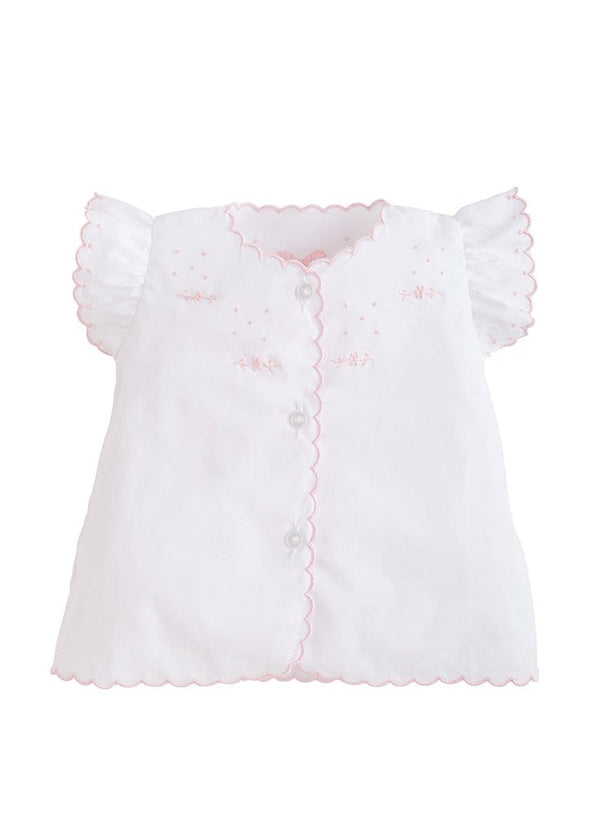 Little English traditional children's clothing, girl's embroidered white blouse