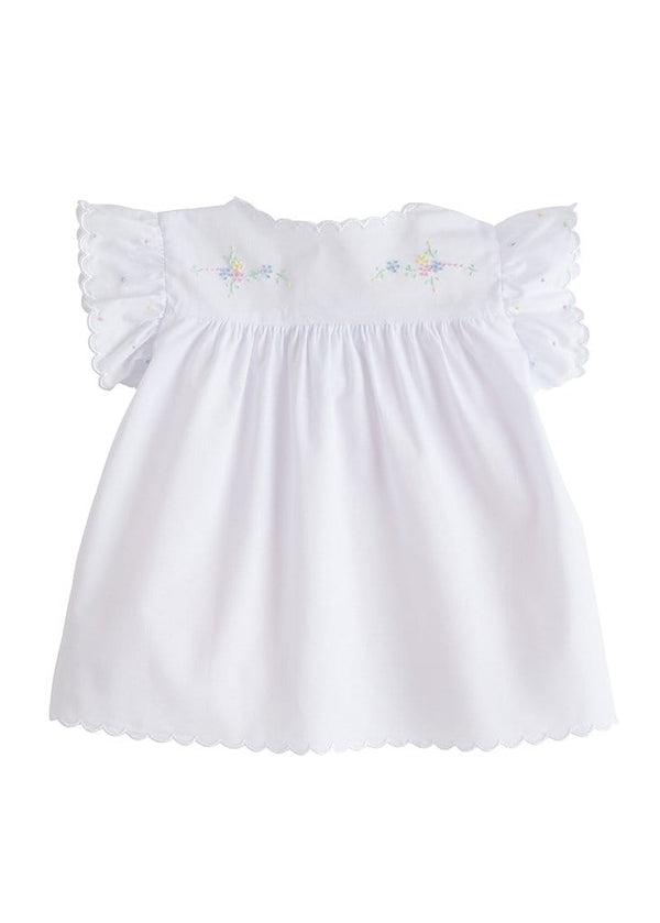 classic girls white cotton tea blouse with bow and flower embroidery