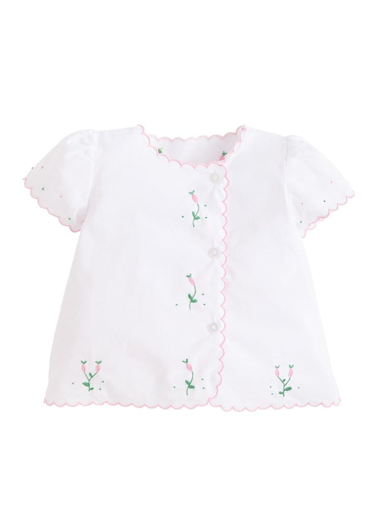 Pink Flowers Tea Blouse, Little English traditional girl's embroidered blouse