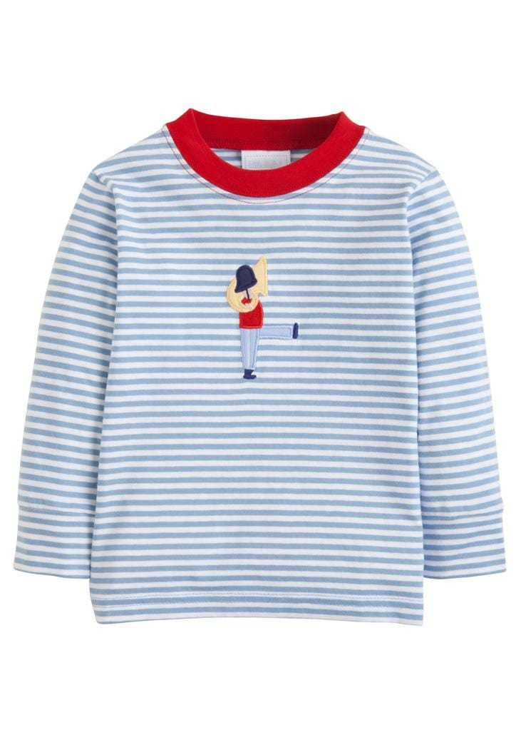 Little English classic boy's blue striped toy soldier applique t-shirt, traditional children's clothing