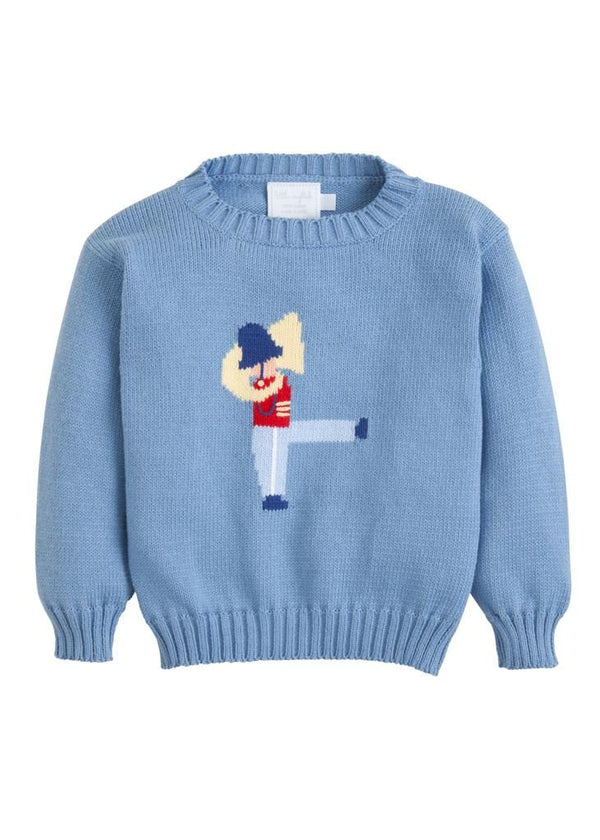 Little English classic boy's blue toy soldier intarsia  sweater, traditional children's clothing