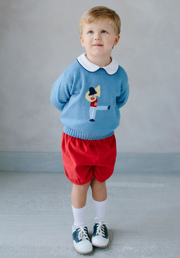 Little English classic boy's blue Toy Solider Intarsia Sweater, traditional children's clothing