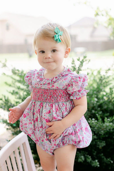 Venetian Floral Smocked O'Day Bubble, Little English Traditional Children's Clothing, girl's classic floral bubble