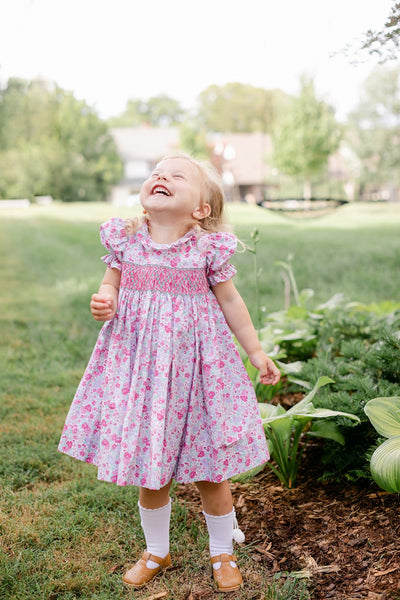 Venetian Jewel Smocked O'Day Dress, Little English Traditional Children's Clothing, girl's classic floral dress