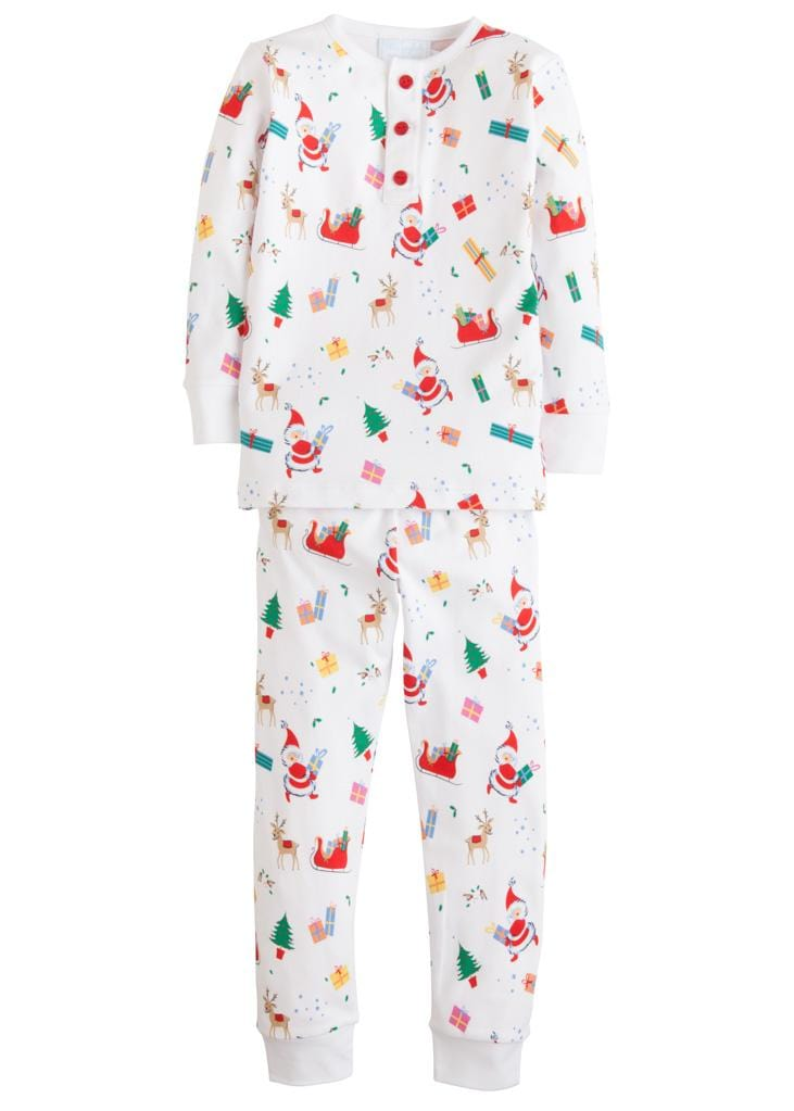 Little English classic boy's vintage Christmas printed pajamas, traditional children's clothing