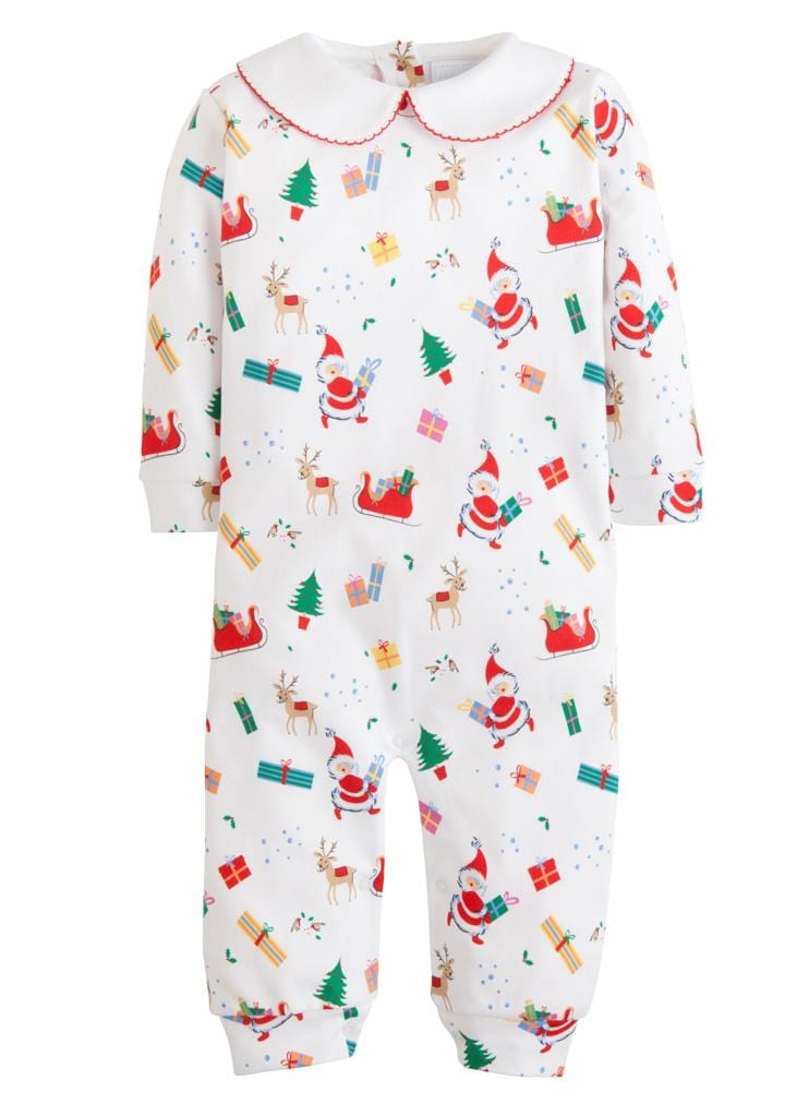 Little English classic vintage Christmas printed playsuit, traditional children's clothing