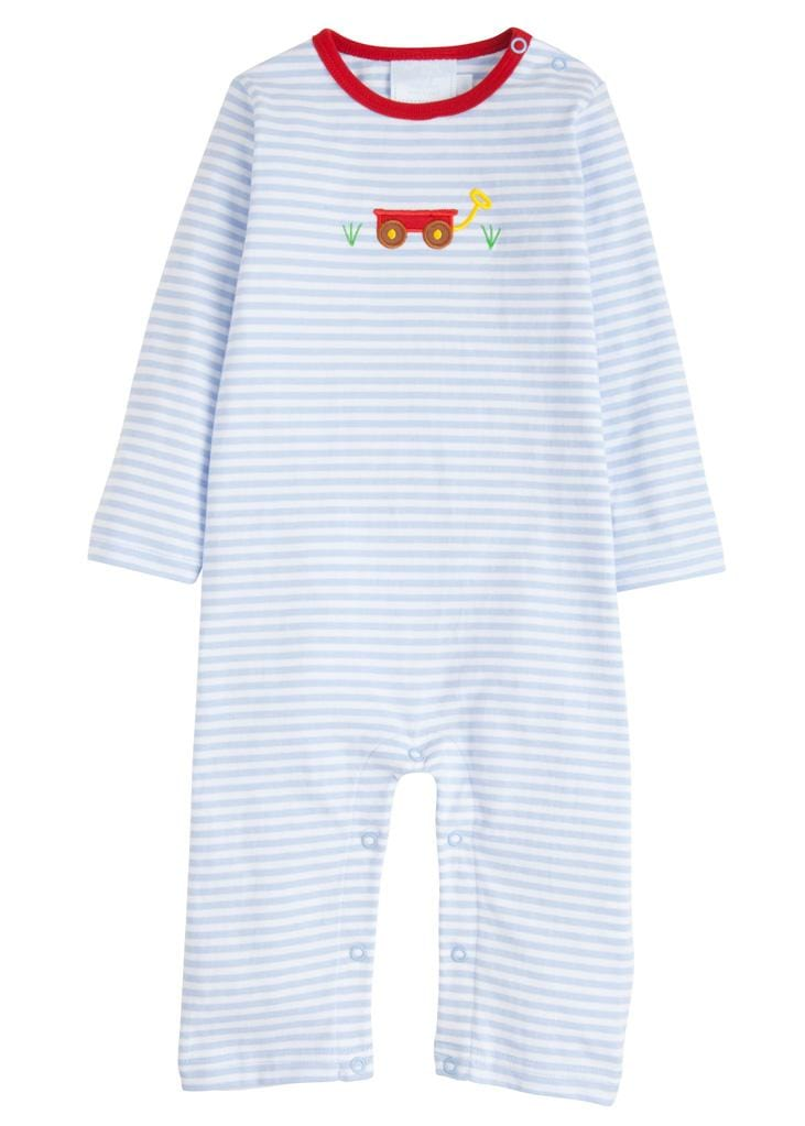 Boy Wagon Applique Romper, Little English Traditional Children's Clothing, Boy's Classic Blue Striped Knit Romper