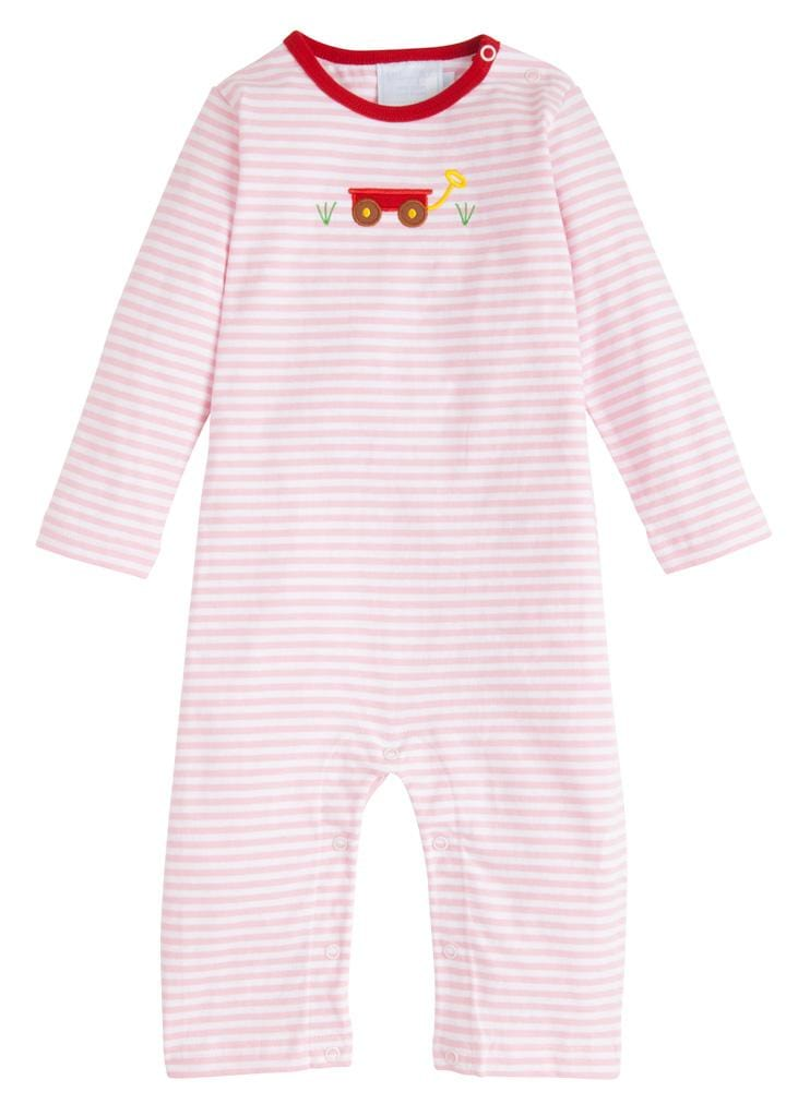 Girl Wagon Applique Romper, Little English Traditional Children's Clothing, Girl's Classic Pink Striped Knit Romper