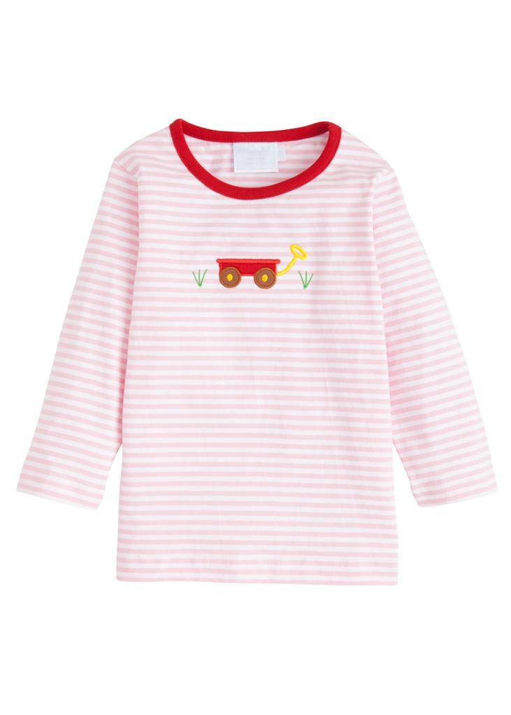 Girl Wagon Applique T-Shirt, Little English Traditional Children's Clothing, Girl's Classic Pink Striped Knit T-Shirt