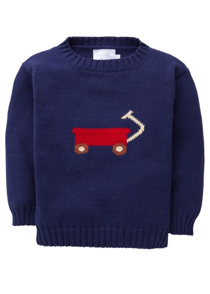 little English classic boys and girls wagon intarsia navy sweater