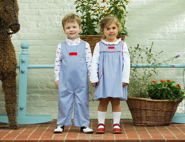 Wagon Campbell Overall, Little English Traditional Children's Clothing, Boy's Classic Blue Gingham Overall