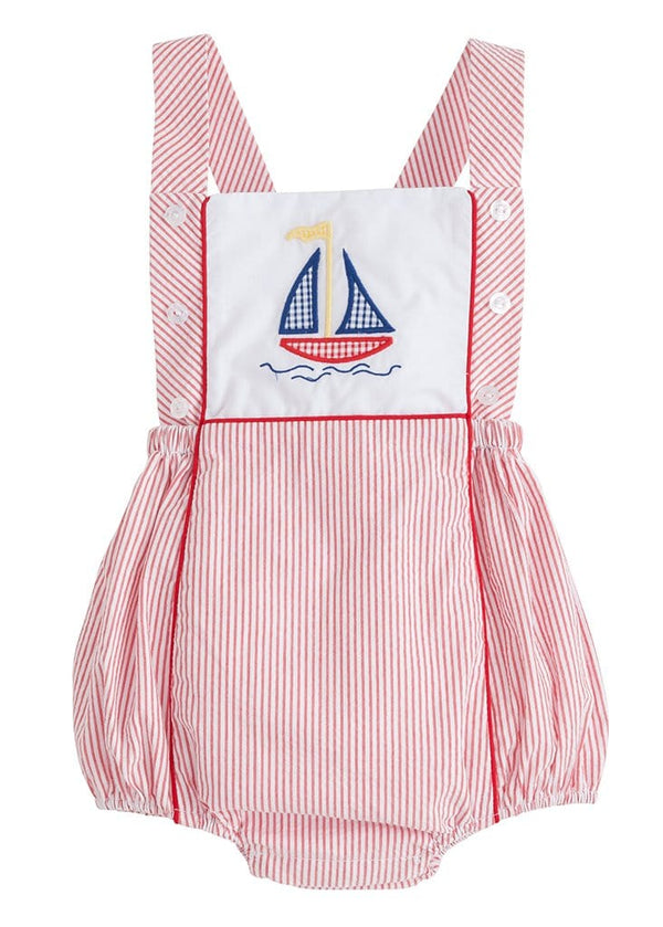 Little English baby boys red seersucker sailboat bubble
