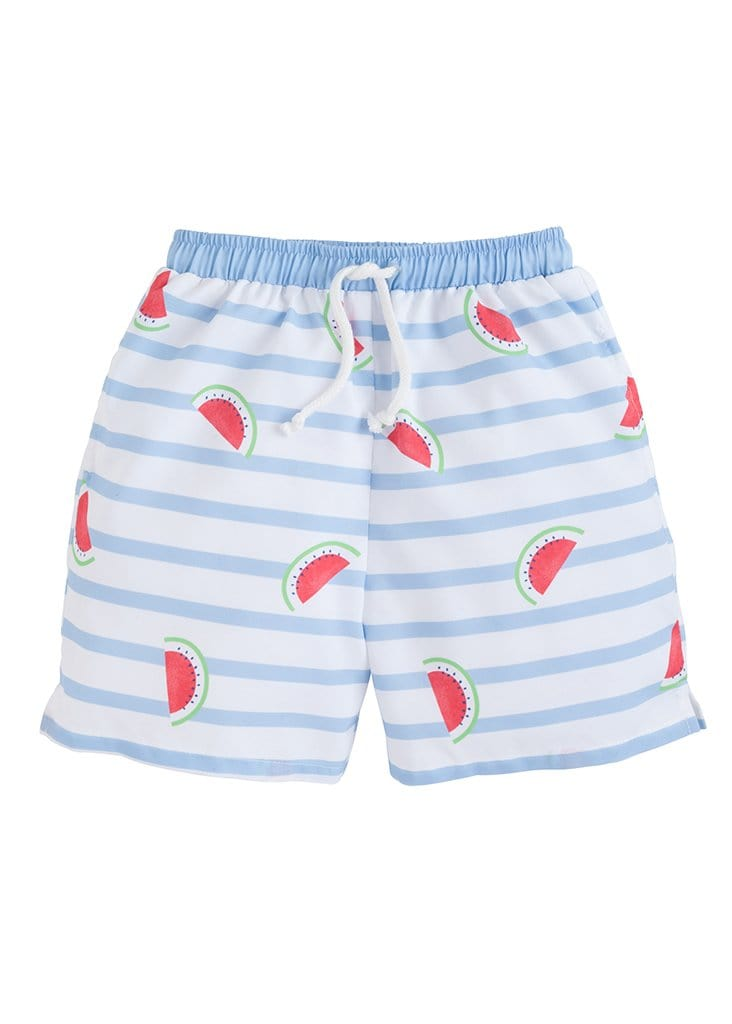 Little English boys watermelon swim shorts