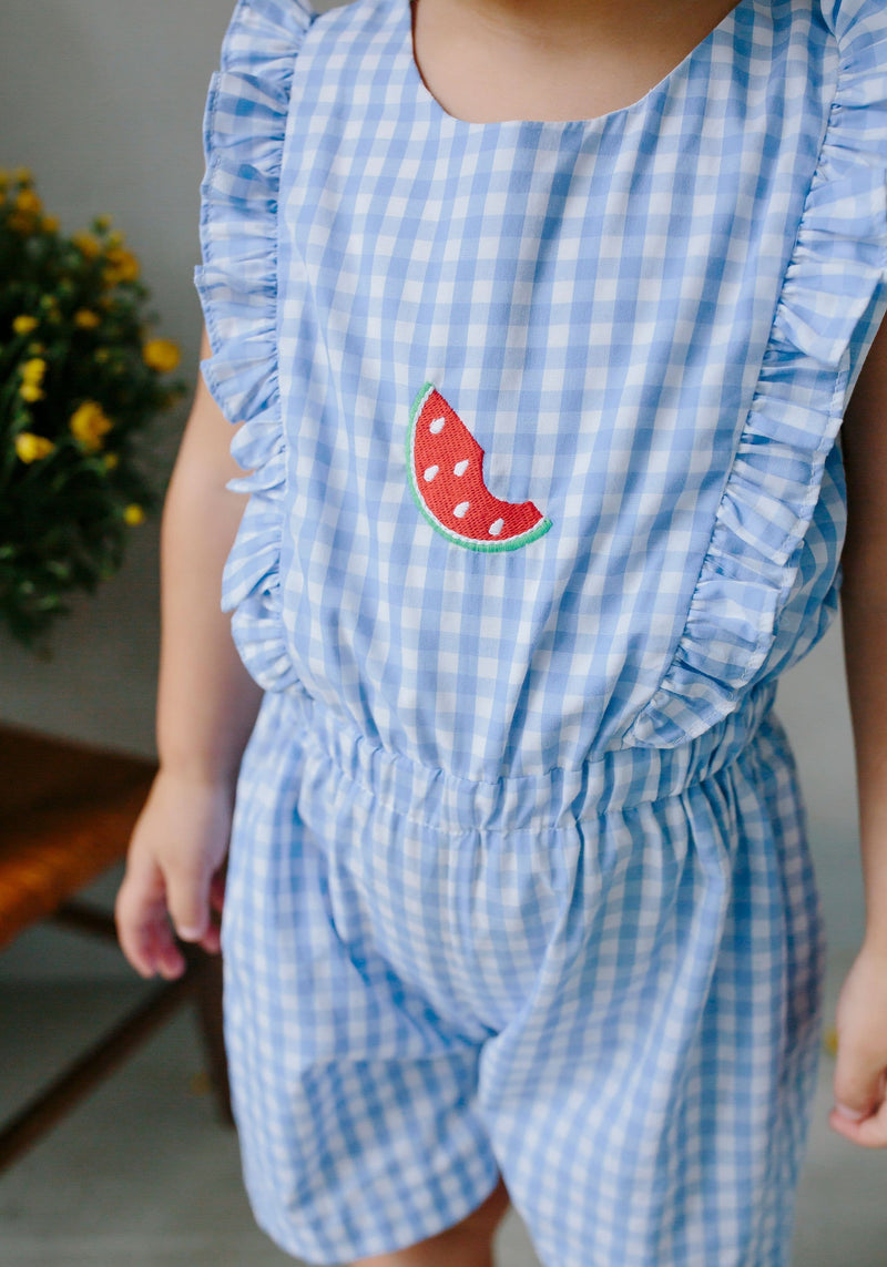 Watermelon Saratoga Romper, Little English, classic children's clothing, preppy children's clothing, traditional children's clothing, classic baby clothing, traditional baby clothing