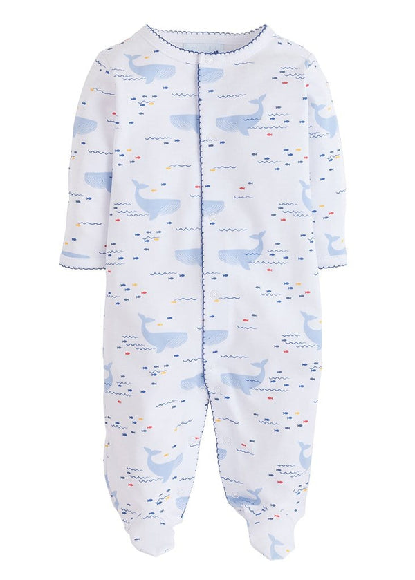 Little English baby boy whale printed footie nautical layette