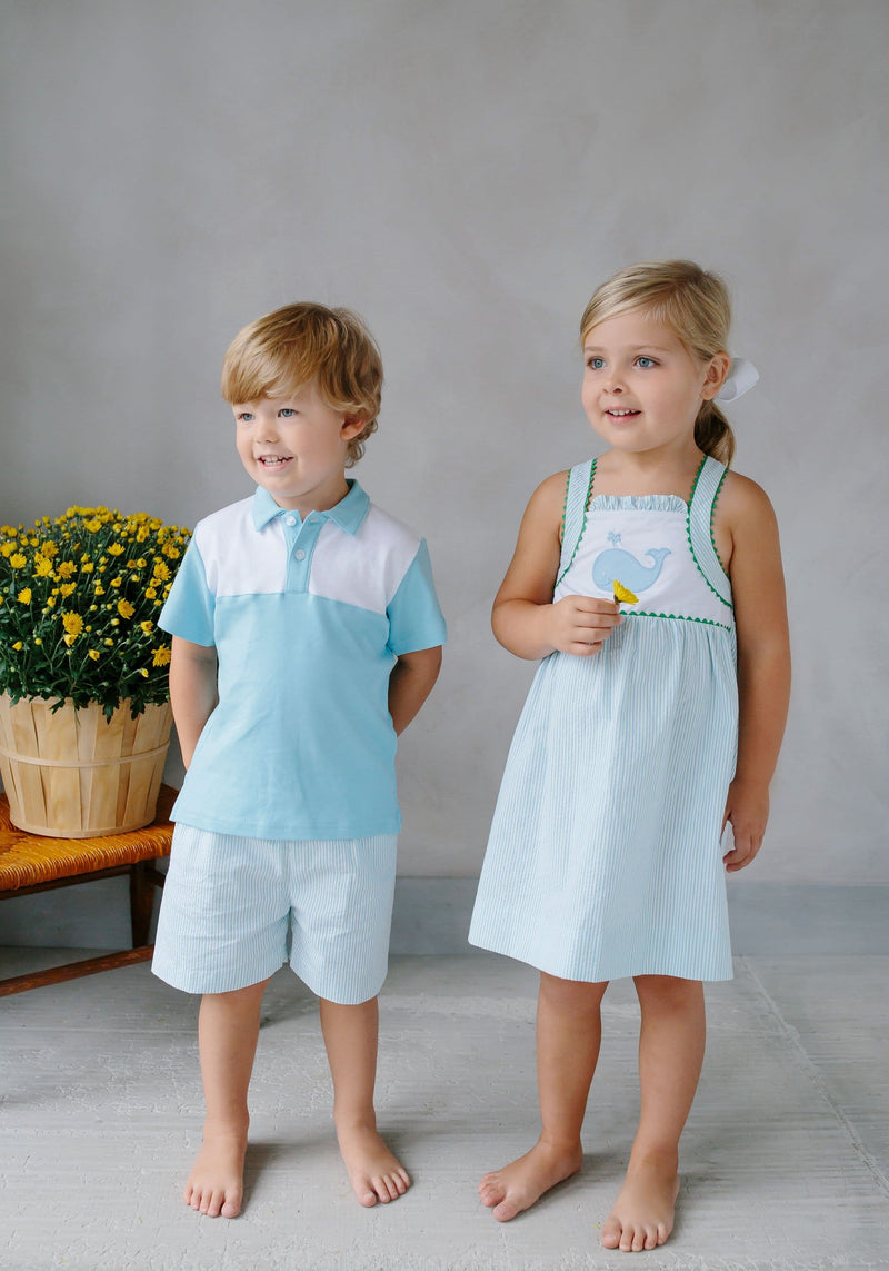 Papa Polo - Aqua, Little English, classic children's clothing, preppy children's clothing, traditional children's clothing, classic baby clothing, traditional baby clothing