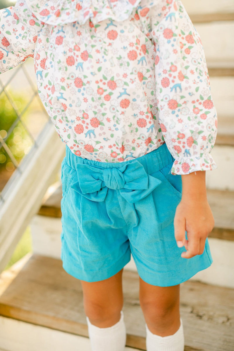 Turquoise Corduroy Bow Short, Little English Traditional Children's Clothing, girl's classic shorts