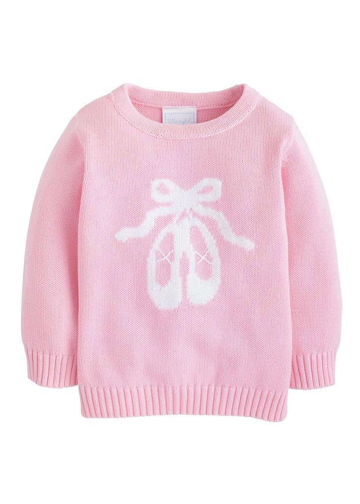 Ballet Intarsia Sweater, Little English Traditional Children's Clothing, girl's classic pink ballet slippers sweater