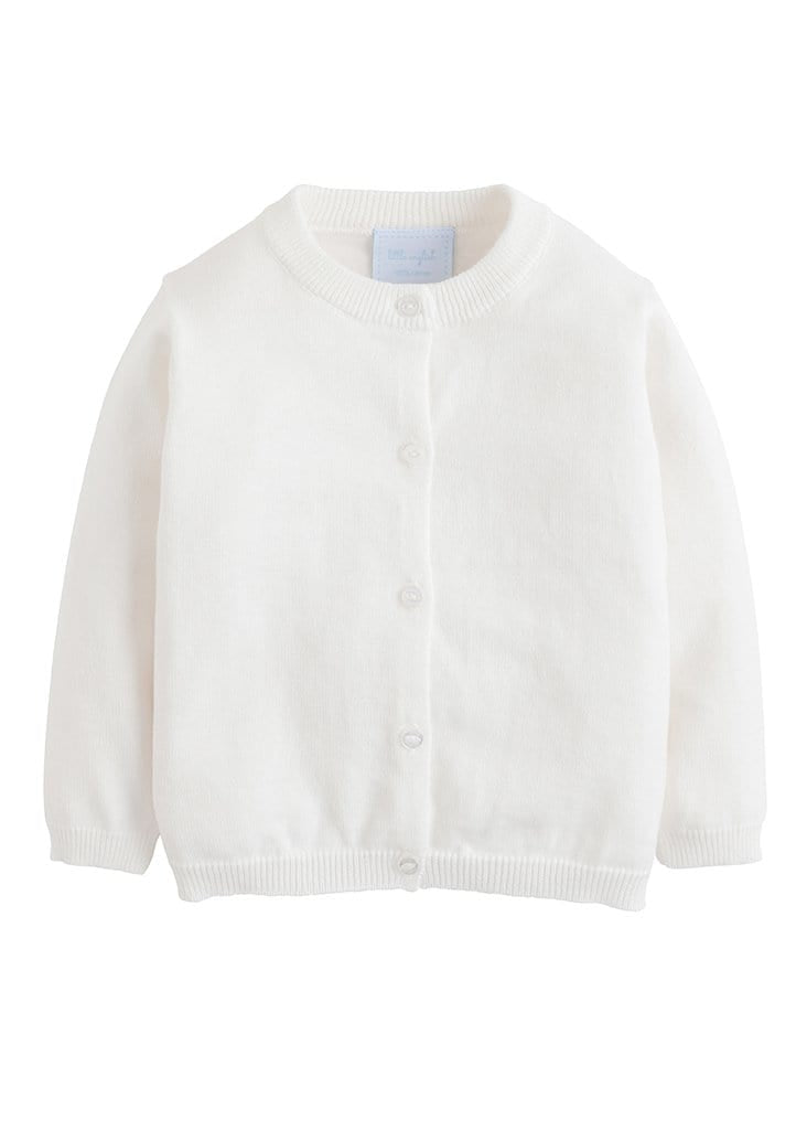 Essential Cardigan - White, Little English, classic children's clothing, preppy children's clothing, traditional children's clothing, classic baby clothing, traditional baby clothing