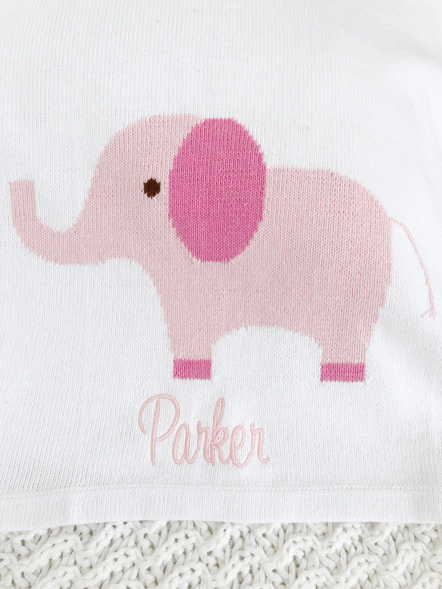 Intarsia Blanket - Pink Elephant, Little English, classic children's clothing, preppy children's clothing, traditional children's clothing, classic baby clothing, traditional baby clothing