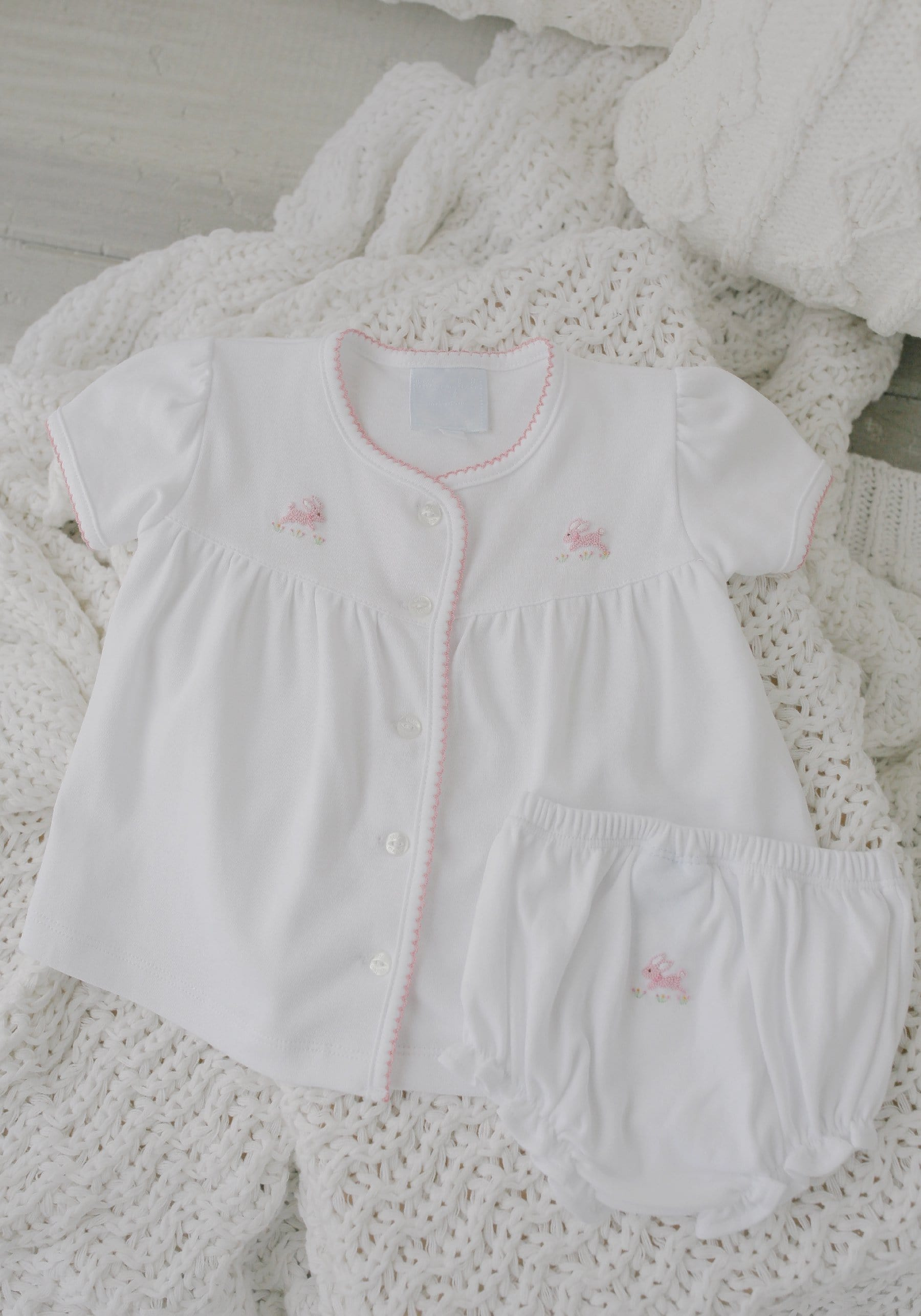 Pinpoint Layette Knit Set-Bunnies, Little English, Little English, classic children's clothing, preppy children's clothing, little English clothing, classic baby clothing, traditional children's clothing, children's clothing, baby clothing